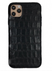 Чехол-накладка кожаная для iPhone 11 Pro No Logo Кроко (Черный)