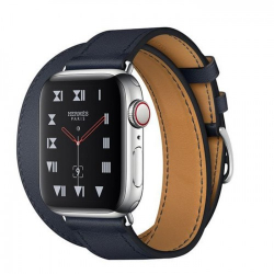 Часы Apple Watch Hermès Series 6 GPS + Cellular 40mm Silver Stainless Steel Case with Navy Swift Leather Double Tour