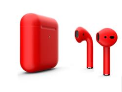 Беспроводная гарнитура Apple AirPods 2 Color беспроводная зарядка чехла (Красный матовый)