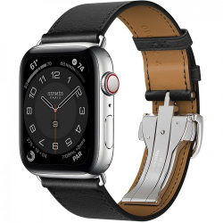 Часы Apple Watch Hermès Series 6 GPS + Cellular 44mm Stainless Steel Case with Single Tour Deployment Buckle Noir Swift Leather