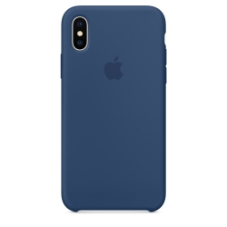 Силиконовый чехол для iPhone X (Тёмный кобальт)