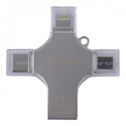 Флеш-накопитель COTEetCI 4in1 Zinc Alloy 64G (Серебристый)
