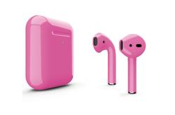 Беспроводная гарнитура Apple AirPods 2 Color беспроводная зарядка чехла (Ультро-розовый глянцевый)