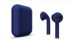 Беспроводная гарнитура Apple AirPods 2 Color беспроводная зарядка чехла (Темно-синий матовый)