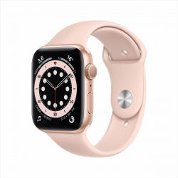 Часы Apple Watch Series 6 44mm Gold Aluminum Case with Pink Sand Sport Band
