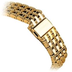 Ремешок со стразами из нержавеющей стали для Apple Watch 38/ 40мм COTEetCI W4 Magnificent Band (Золотистый)