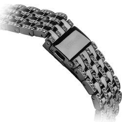 Ремешок со стразами из нержавеющей стали для Apple Watch 42/ 44мм COTEetCI W4 Magnificent Band (Черный)