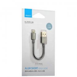 USB дата-кабель Deppa microUSB алюминий/ нейлон 0.15м (Графитовый)