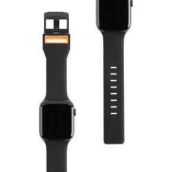 Ремешок силиконовый для Apple Watch 42/ 44мм UAG Civilian Strap (Чёрный/Оранжевый)