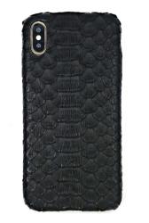 Чехол-накладка кожаная для iPhone Xs Max No Logo Питон (Черный)