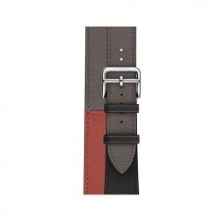 Ремешок для Apple Watch 38/ 40мм Hermès Double Tour из кожи Swift цвета Noir/Brique/Étain