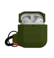 Чехол для AirPods 1/ 2 UAG Silicone Case (Оливковый/ оранжевый)