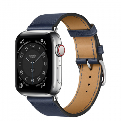 Часы Apple Watch Hermès Series 6 GPS + Cellular 40mm Silver Stainless Steel Case with Navy Swift Leather Single Tour