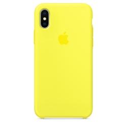 Силиконовый чехол для iPhone X/ XS (Жёлтый неон)