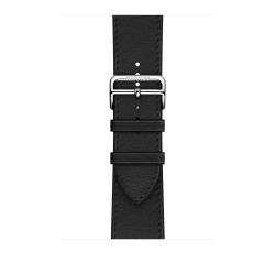 Ремешок для Apple Watch 42/ 44мм Hermès Noir Swift Leather Single Tour Deployment Buckle