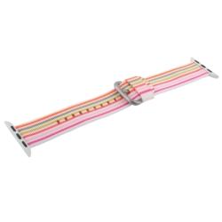 Ремешок из плетёного нейлона для Apple Watch 38/ 40мм COTEetCI W30 Nylon Rainbow Band (Бело-Розовый)