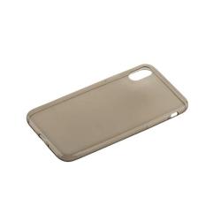 Чехол силиконовый для iPhone X (5.8) супертонкий (Прозрачно-чёрный)