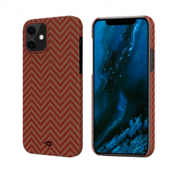 Чехол для iPhone 12 mini Pitaka MagEZ Case в ромбик (Красно-оранжевый)
