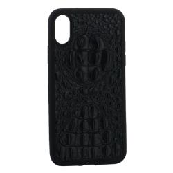 Чехол-накладка кожаная для iPhone X/ XS Vorson крокодил (Черный)