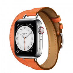 Часы Apple Watch Hermès Series 6 GPS + Cellular 40mm Silver Stainless Steel Case with Orange Swift Leather Attelage Double Tour
