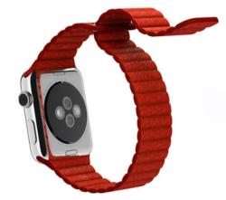 Ремешок кожаный для Apple Watch 42/ 44мм Рифленый (Красный)