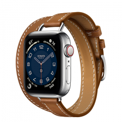 Часы Apple Watch Hermès Series 6 GPS + Cellular 40mm Silver Stainless Steel Case with Attelage Double Tour Fauve