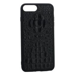 Чехол-накладка кожаная для iPhone 7 Plus/ 8 Plus Vorson крокодил (Черный)