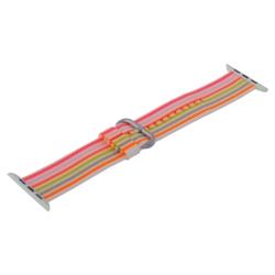 Ремешок из плетёного нейлона для Apple Watch 42/ 44мм COTEetCI W30 Nylon Rainbow Band (Бело-Розовый)