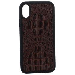 Чехол-накладка кожаная для iPhone X/ XS Vorson крокодил (Коричневый)