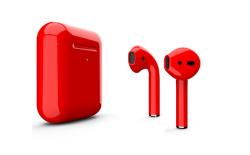 Беспроводная гарнитура Apple AirPods 2 Color беспроводная зарядка чехла (Красный глянцевый)
