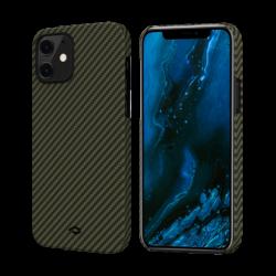 Чехол для iPhone 12 mini Pitaka MagEZ Case в полоску (Черно-зеленый)