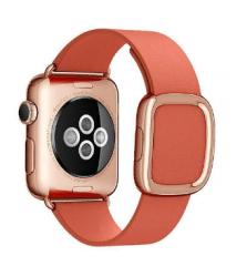 Ремешок кожаный для Apple Watch 38/ 40мм Modern Buckle (Rose Red)