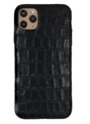 Чехол-накладка кожаная для iPhone 11 Pro Max No Logo Кроко (Черный)