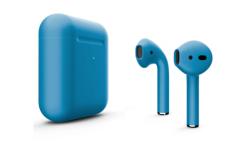 Беспроводная гарнитура Apple AirPods 2 Color беспроводная зарядка чехла (Голубой матовый)