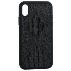 Чехол-накладка кожаная для iPhone XR Vorson крокодил (Черный)