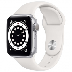 Часы Apple Watch Series 6 44mm Silver Aluminum Case with White Sport Band