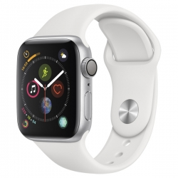 Умные часы Apple Watch S4 GPS 44mm Silver Aluminum Case with White Sport Band