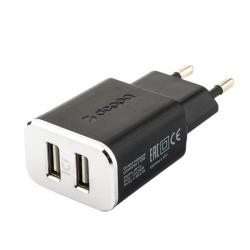 Сетевое зарядное устройство Deppa Wall charger 2.4А, дата-кабель Type-C (2USB: 5V/2.4A) Черный