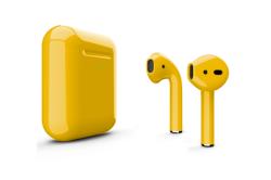Беспроводная гарнитура Apple AirPods 2 Color беспроводная зарядка чехла (Желтый глянцевый)