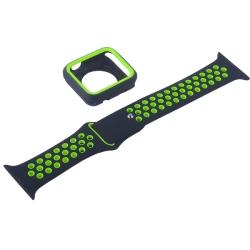 Ремешок спортивный для Apple Watch 38mm COTEetCI W32 (Черно-Зеленый)