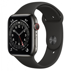 Часы Apple Watch Series 6 GPS + Cellular 44mm Graphite Stainless Steel Case with Black Sport Band