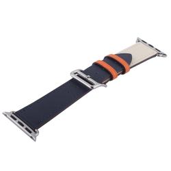 Ремешок кожаный для Apple Watch 42/ 44мм COTEetCI W36m Fashoin Leather (Синий-Бежевый)
