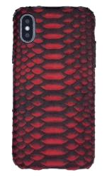 Чехол-накладка кожаная для iPhone Xs Max No Logo Питон (Красно-черный)