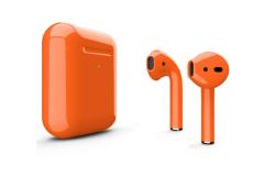 Беспроводная гарнитура Apple AirPods 2 Color беспроводная зарядка чехла (Оранжевый глянцевый)