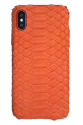 Чехол-накладка кожаная для iPhone Xs No Logo Питон (Оранжевый)