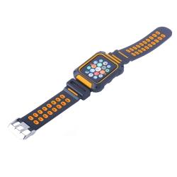 Ремешок спортивный для Apple Watch 42mm COTEetCI W31 (Черно-Оранжевый)