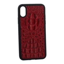 Чехол-накладка кожаная для iPhone X/ XS Vorson крокодил (Красный)