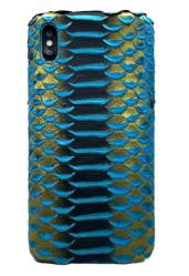 Чехол-накладка кожаная для iPhone Xs No Logo Питон (Бирюзовый)