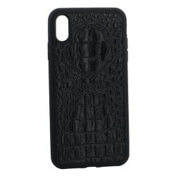 Чехол-накладка кожаная для iPhone XS Max Vorson крокодил (Черный)