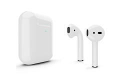Беспроводная гарнитура Apple AirPods 2 Color беспроводная зарядка чехла (Серебристый глянцевый)